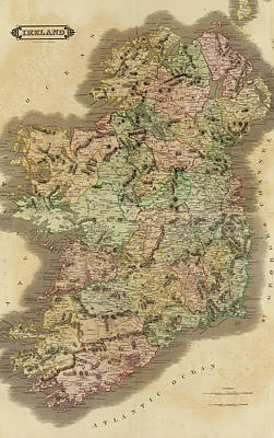 Drawing - 1831 Ireland Vintage Map by Dan Sproul