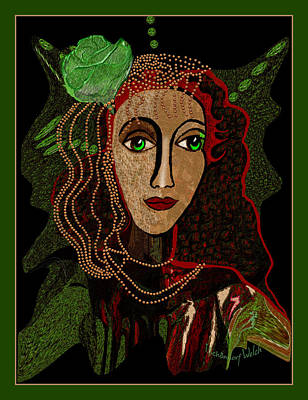 Digital Art - 1834 - Green Eyes Green Rose 2017 by Irmgard Schoendorf Welch