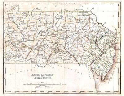 Pennsylvania Drawing - 1835 Pennsylvania Map by Dan Sproul