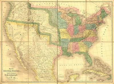 1839 Map Showing Us-mexican Boundary Art Print by Everett