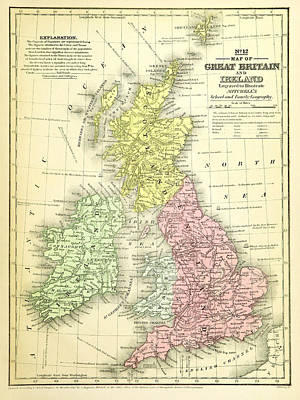 Photograph - 1840 Map Of Great Britain And Ireland by Phil Cardamone