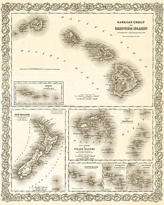 Digital Art - 1841 Map Of The Hawaiian Islands Fiji Islands New Zealand 1800s Map Sepia by Toby McGuire