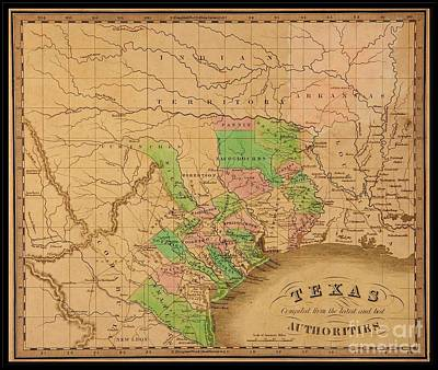 Drawing - 1842 Jeremiah Greenleaf Pioneer Map Of Texas With Forts And Indian Lands by Peter Gumaer Ogden Collection