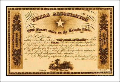 Drawing - 1844 Texas Association Stock Certificate For Pioneer Emigration To The Mercer Colony by Peter Gumaer Ogden