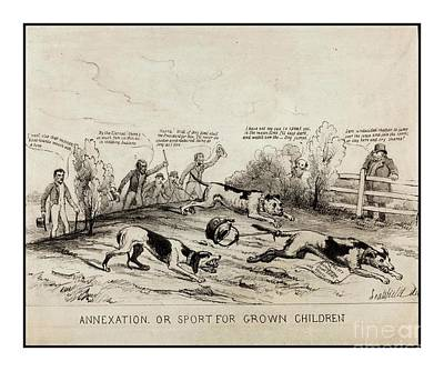 Drawing - 1845 Texas Mexico Annexation Cartoon by Peter Gumaer Ogden