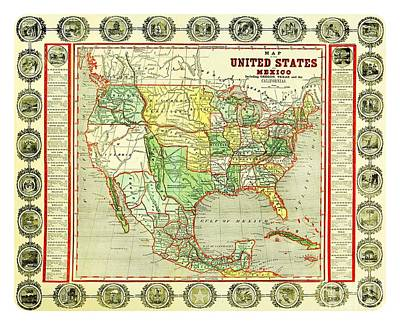 Drawing - 1846 Map Of The U S  Including Oregon Texas Old California And New California by Peter Gumaer Ogden Collection