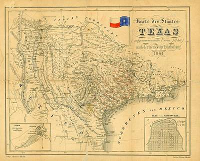 Dallas Drawing - 1849 Texas Map by Dan Sproul