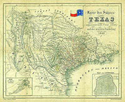 Old Map Photograph - 1849 Texas Map by Jon Neidert