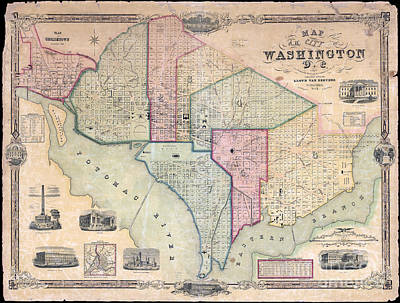 Map Of Pennsylvania Photograph - 1851 Washington Dc Map by Jon Neidert