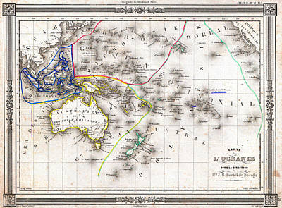 Oceania Painting - 1852 Map Of Oceania by Celestial Images