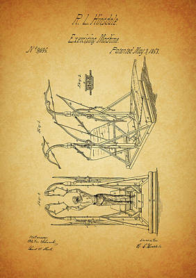 Nike Mixed Media - 1853 Exercising Machine Patent by Dan Sproul