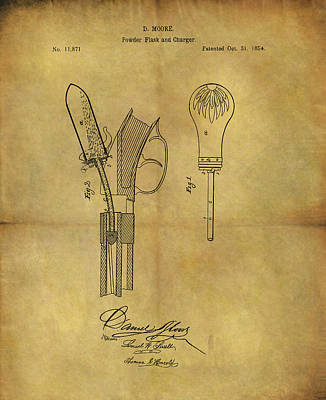Mixed Media - 1854 Powder Flask Patent by Dan Sproul