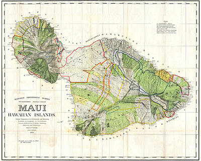 Digital Art - 1855 Government Survey Map Of Maui Hawaii Updated In 1903 by Toby McGuire
