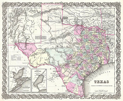 Painting - 1855 Texas Map by Gary Grayson