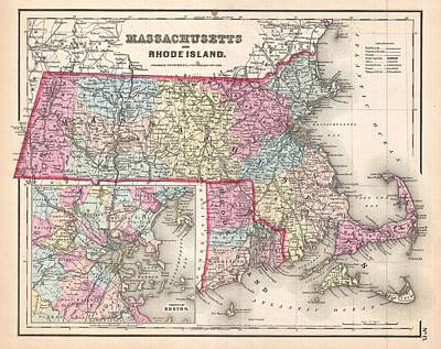 Painting - 1857 Map Of Massachusetts And Rhode Island by Celestial Images