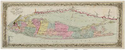 Polaroid Camera - 1857 Travellers Map of Long Island by Celestial Images