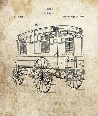 Drawing - 1858 Ambulance Patent by Dan Sproul