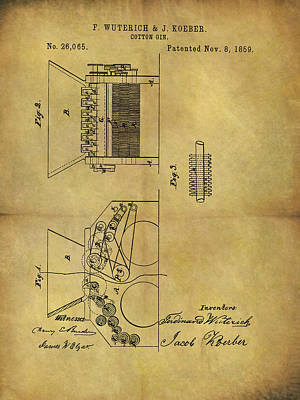 Mixed Media - 1859 Cotton Gin Patent by Dan Sproul