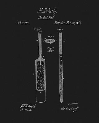 Athletes Mixed Media - 1859 Cricket Bat Patent by Dan Sproul