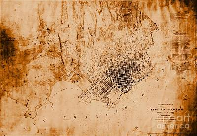 Old Map Photograph - 1859 Map Of San Francisco California by Padre Art
