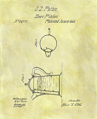 Pitcher Drawing - 1860 Beer Pitcher Patent by Dan Sproul