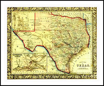 Drawing - 1860 Civil War Era County Map Of Indian Territories Texas And Galveston Bay by Peter Gumaer Ogden Collection