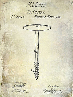 1860 Corkscrew Patent Art Print