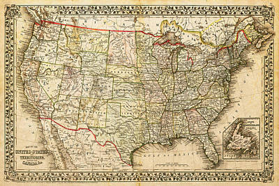 Digital Art - 1860 Map Of The United States And Territories Together With Canada By S. Augustus Mitchell Jr. by Serge Averbukh