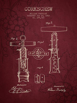 Wine Drawing - 1862 Corkscrew Patent - Red Wine by Aged Pixel