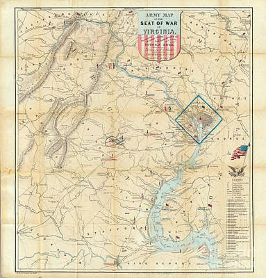 Painting - 1862 Map Of Virgina Washington Dc by Celestial Images