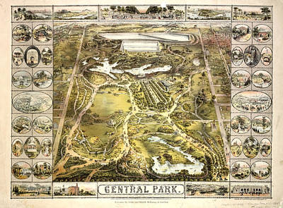 Photograph - 1863 Central Park Map by Paul W Faust - Impressions of Light