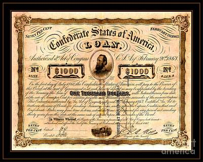 Stonewall Drawing - 1863 Confederate States Of America Loan With Stonewall Jackson Portrait Issued At Houston by Peter Gumaer Ogden