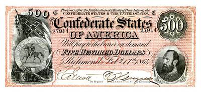 Confederate Flag Drawing - 1864 Confederate States Of America 500 Dollar Bill With Stonewall Jackson Portrait by Peter Gumaer Ogden