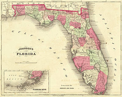 Photograph - 1864 Florida Map Color by Toby McGuire