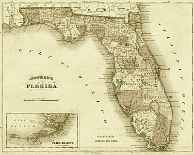 1864 Florida Map Sepia Art Print