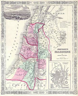 Painting - 1864 Map Of Israel Palestine Or The Holy Land by Celestial Images