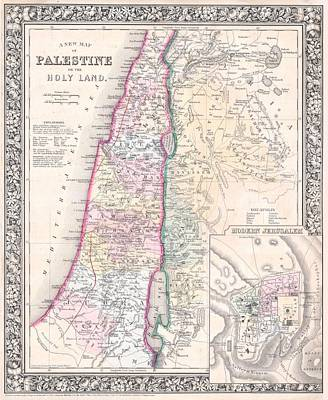 Old Map Painting - 1864 Map Of Palestine Israel Or The Holy Land  by Celestial Images