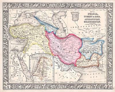 Painting - 1864 Map Of Persia Turkey And Afghanistan Iran Iraq by Celestial Images