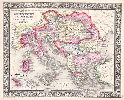 Map Photograph - 1864 Mitchell Map Of Italy, Greece And The Austrian Empire by Paul Fearn