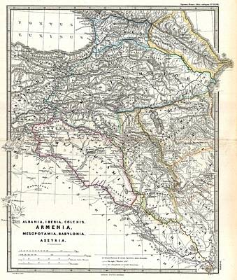 Painting - 1865 Map Of The Caucasus And Iraq In Antiquity by Celestial Images