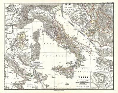 Maps Photograph - 1865 Spruner Map Of Italy Under Augustus Caesar by Paul Fearn