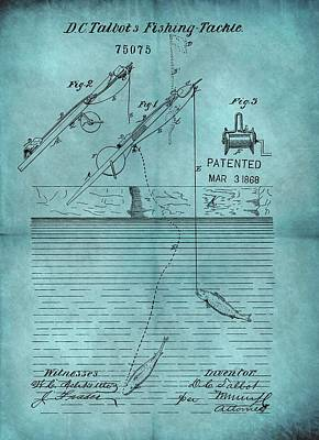Pole Drawing - 1868 Fishing Tackle Patent Blue by Dan Sproul