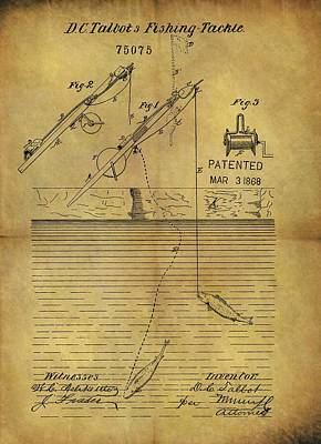Pole Drawing - 1868 Fishing Tackle Patent by Dan Sproul