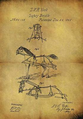 Animals Drawings - 1868 Horse Bridle Patent by Dan Sproul