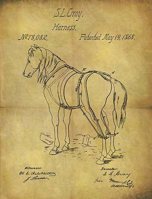 Animals Drawings - 1868 Horse Harness Patent by Dan Sproul