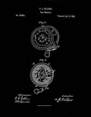 Hardware Drawing - 1868 Tape Measure Patent Drawing by Steve Kearns