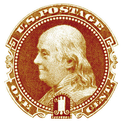 American Revolution Painting - 1869 Benjamin Franklin Stamp by Historic Image