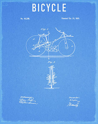 Drawing - 1869 Bicycle by Dan Sproul