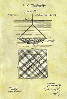Lobster Drawing - 1869 Fishing Net Patent by Dan Sproul