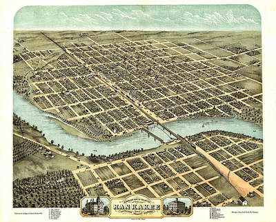 Old Map Photograph - 1869 Map Of Kankakee by Stephen Stookey